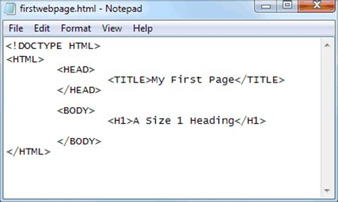format html tags in notepad html section 2 basic html tags