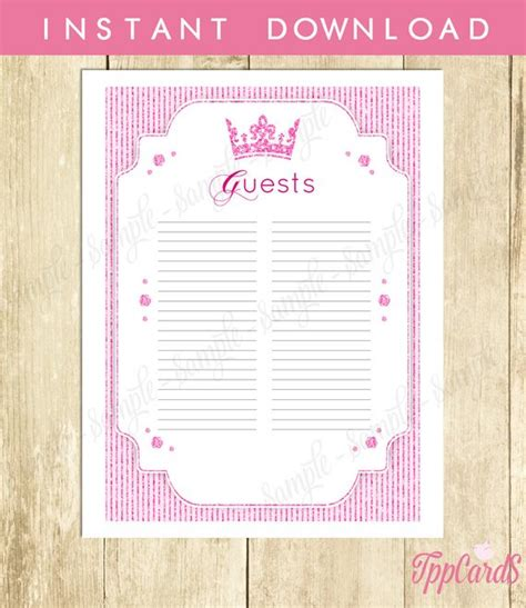 Printable Baby Shower Guest Sign In Sheet by Royal Princess Baby Shower Guest List Glitter Baby Shower