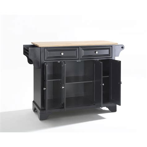 lafayette wood top kitchen island in black finish