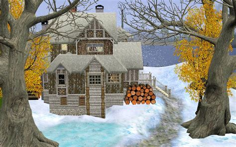 winter houses mod the sims snow winter house