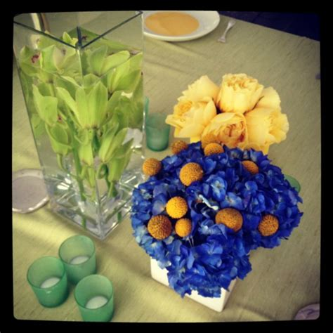 blue and yellow centerpieces dc wedding planner and florist and elegance