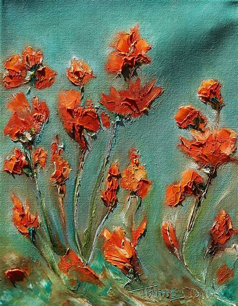 painting with orange flower painting with palette knife for sale by