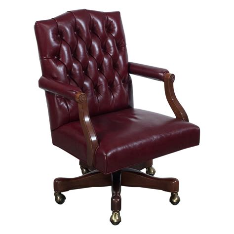 tufted leather used councill used walnut wood tufted leather conference chair