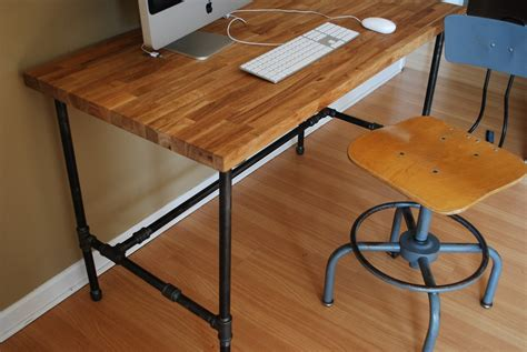 Diy Desk Legs Industrial Desk With Oak Top And Steel Pipe Legs