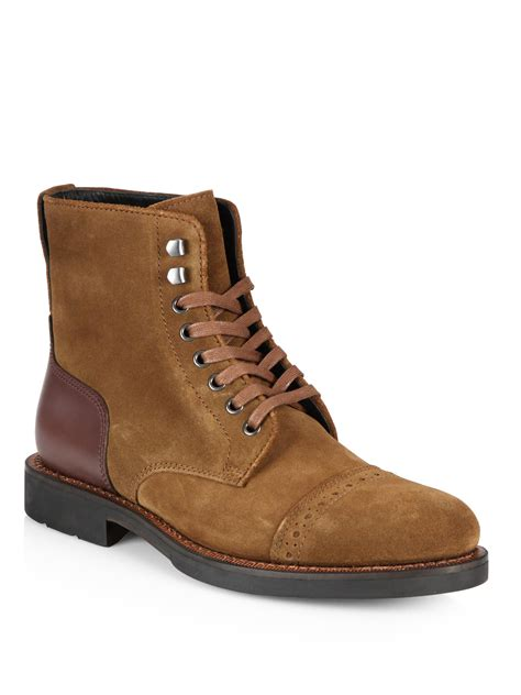 coach boots mens coach bleecker cap toe boots in brown for lyst