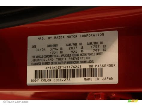 2004 mazda mazda3 i sedan color code photos gtcarlot