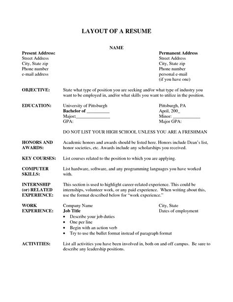 resume layout resume cv exle template