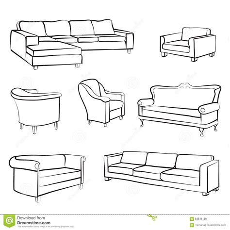 3d furniture draing furniture sofa and armchair set interior design outline collection stock illustration image
