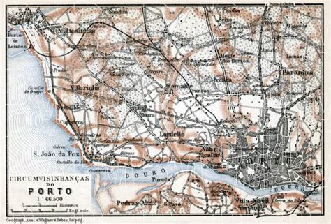 map of porto map of porto vicinity in 1913 buy vintage map replica