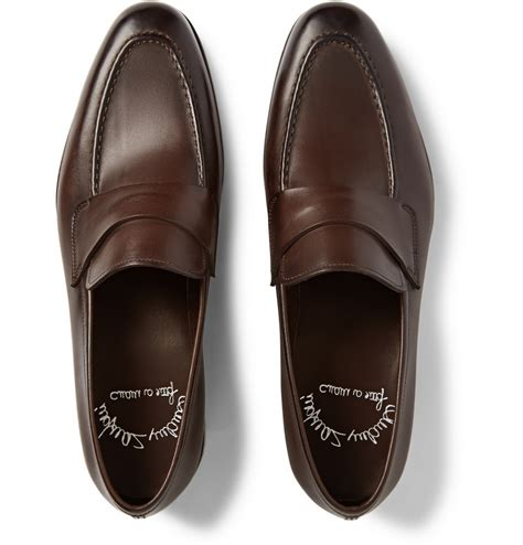 santoni loafer santoni leather loafers in brown for lyst
