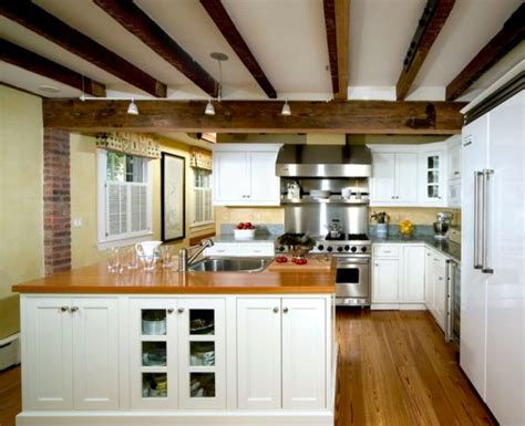exposed beam ceiling rustic and inviting kitchens featuring exposed ceiling beams