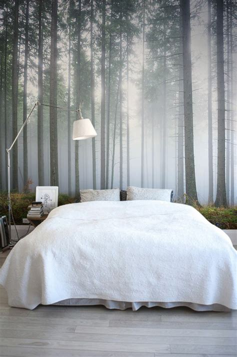 forest wallpaper for bedroom white bedroom interior design ideas with white bedding and