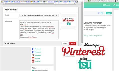 Pinterest Make Money Online - how to make easy money online with pinterest and tsu
