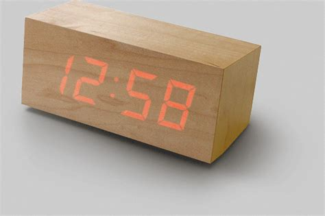 the gallery for gt cool wooden clocks wood clock digital time floating on a wooden block