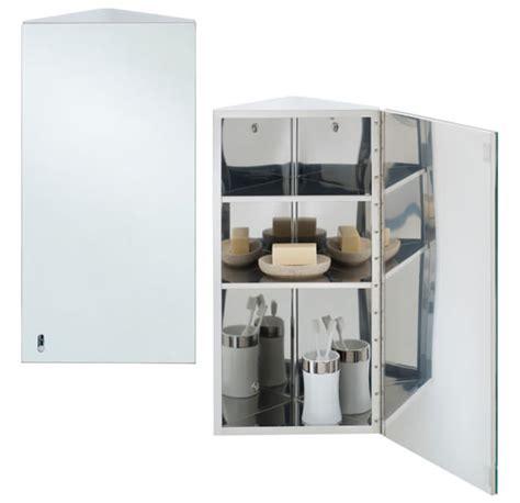 corner bathroom cabinet with mirrored door w51cm rak riva stainless steel 190 x 660mm corner single door
