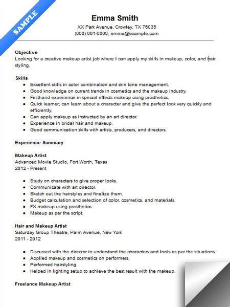 Makeup Artist Sample Resume - Freelance Makeup Artist Resume Sle ...