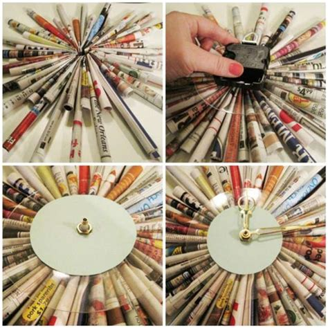 New Paper Crafts - what can be made from newspapers wall clock picture
