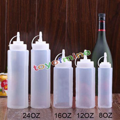 8,12,16,24oz New Kitchen Plastic Squeeze Bottle Condiment