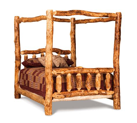 queen log bed queen log canopy bed hardwood creations