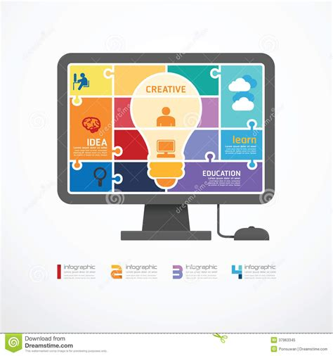 infographic template computer jigsaw banner conc royalty