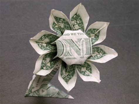 How To Make Money Origami Flower - dollar money origami flower money dollar origami