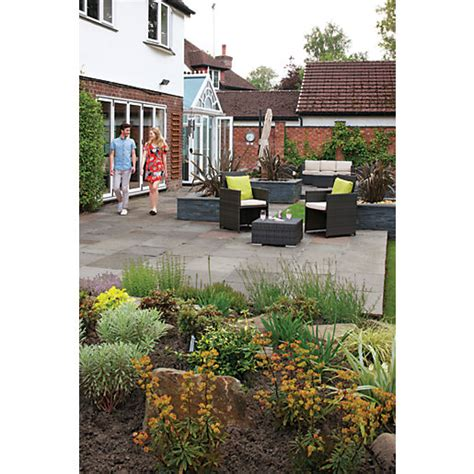Travis Perkins Patio Slabs by Marshalls Indian Sandstone Riven Grey Paving Patio Pack