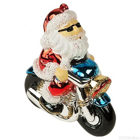 motorcycle santa christmas ornament shatterproof