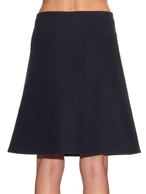 trademark scalloped detail a line skirt in blue lyst
