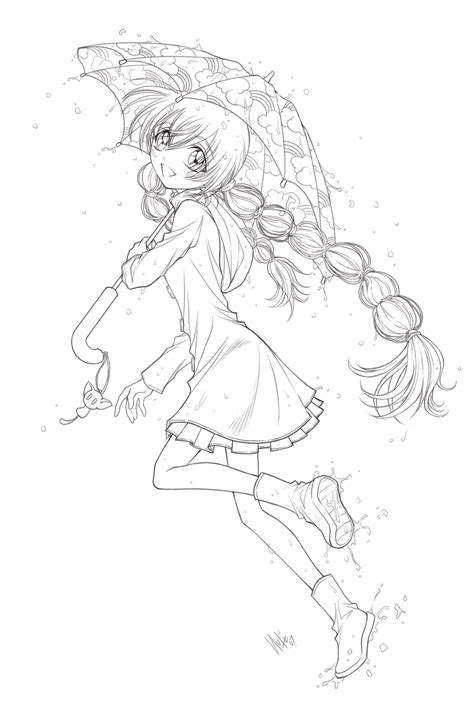 little anime girl line art pictures to pin on pinterest