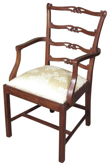 Occasional Dining Chairs Solid Mahogany Golden Floral Ladder Back Occasional Arm Chair Traditional Dining Chairs By