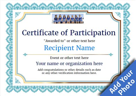 certification of participation free template participation certificate templates free printable add