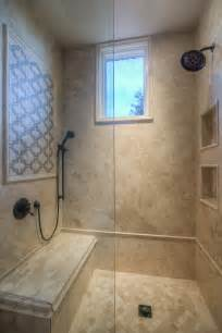 Bathroom Tile Work by Custom Luxury Walk In Shower With Two Shower Heads And