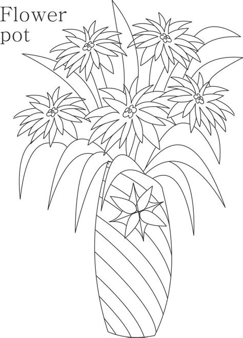 Decorative Flower Pots And Vases Coloring Pages Simple Flower Pot Draw Color It