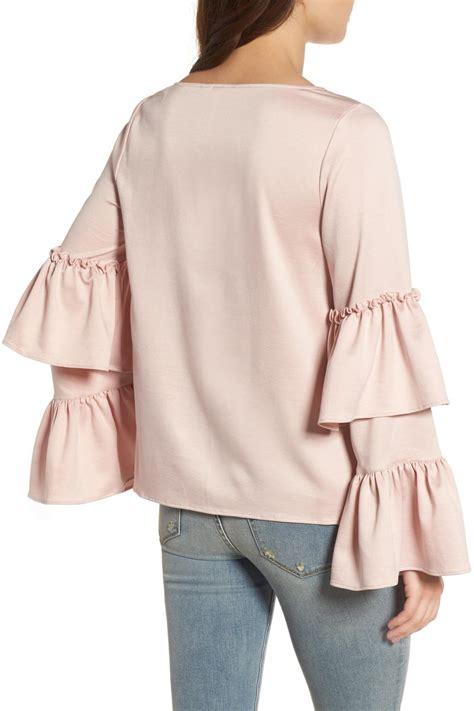 Id Pink Ruffle Silk Blouse lyst hinge ruffle sleeve satin blouse in pink