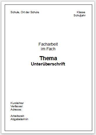 seminararbeit layout word deckblatt hausarbeit schule muster anschreiben 2018