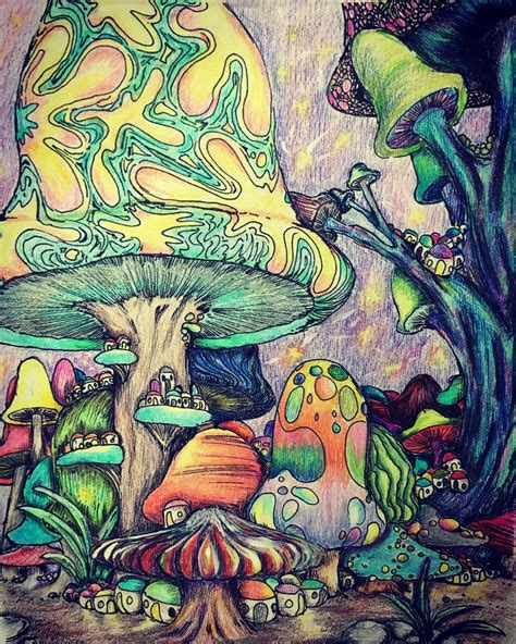 Trippy Coloring Pages Mushrooms by Trippy Coloring Page Stuff D