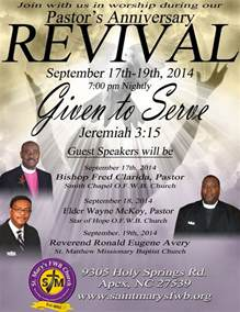 pastor s anniversary revival at st mary s f w b church