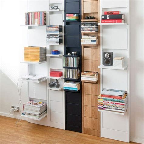 space saving individual shelves which fold up when not in