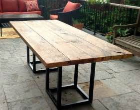 Metal Outdoor Dining Table Salvaged Barn Board Dining Outdoor Dining Table With Metal Base