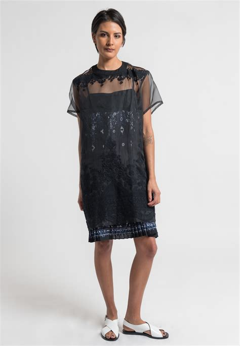 Dress Lace Tribal sacai tribal lace dress in black santa fe goods