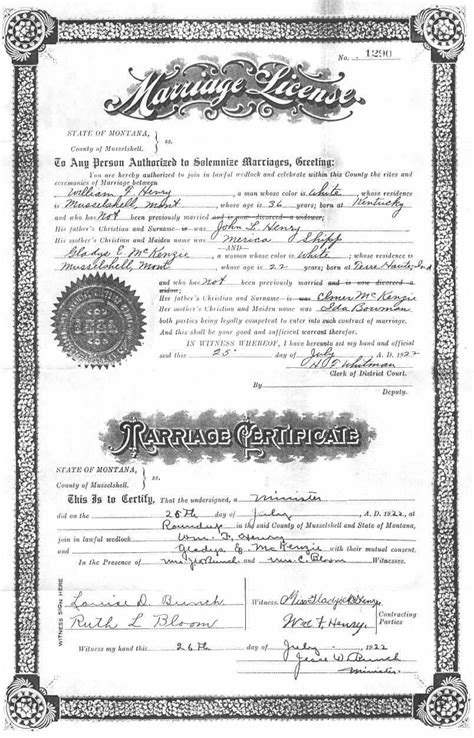 Montana Marriage Records Musselshell County Archives