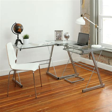 Walker Edison 3 Piece Contemporary Desk Silver With Clear Walker Edison 3 Contemporary Desk