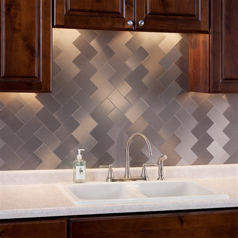 aluminum kitchen backsplash 32 pcs peel and stick kitchen backsplash adhesive metal tiles for wall