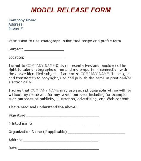 model agreement template 8 best images about model release on models