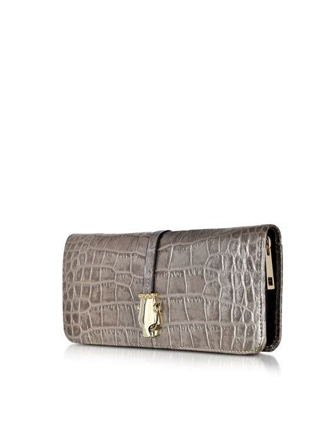 Black Croco Clutch class roberto cavalli croco print leather clutch with wallet in black lyst