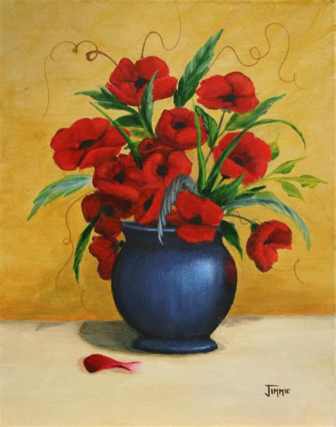 Vase Painters by Poppies In Blue Vase Painting By Jimmie Bartlett