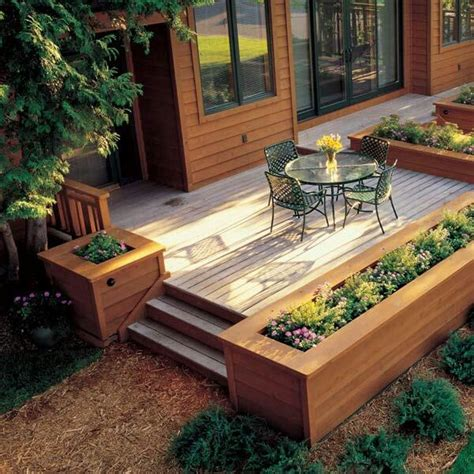 picture of deck bed raised beds for easy low maintenance backyard gardens