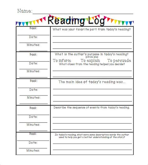reading log template elementary 2nd grade ela