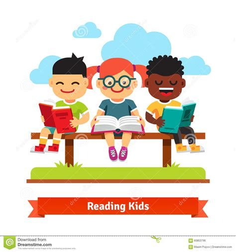 kids reading bench three kids sitting on the bench and reading books stock