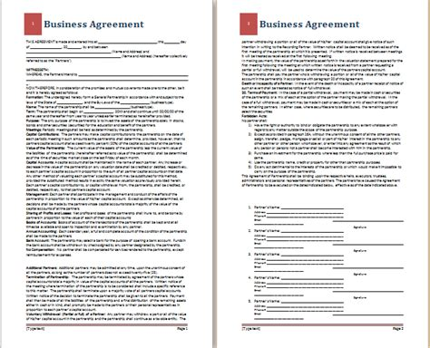 business agreements templates ms word business agreement template free agreement templates